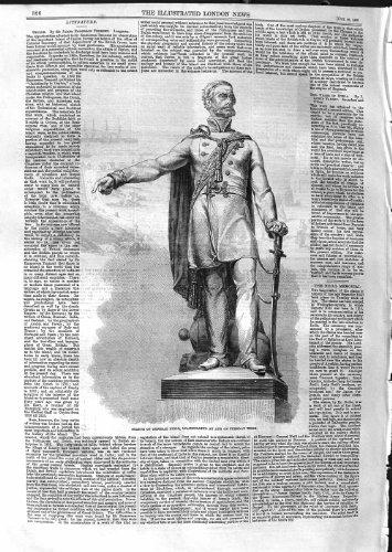 STATUE 1859 AYR ECOSSE INAUGURÉ par NEILL GÉNÉRAL [Cuisine et Maison] par original old antique victorian print