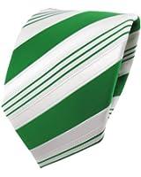 TigerTie Satin Krawatte grün smaragdgrün weiß silber gestreift - Schlips Binder Tie