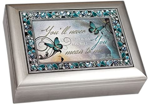You'll Never Know How Much You Mean to Me Musical Music Jewelry Box - Plays What a Wonderful World, Metallic Silver by Cottage Garden
