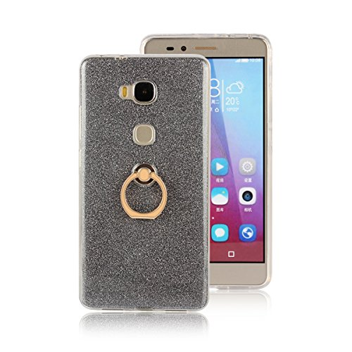 Meimeiwu 2 in 1 Ultra Slim TPU Bumper Back Cover Case Custodia With 360 Degree Rotating Ring per Huawei Honor 6 Plus - Oro Nero