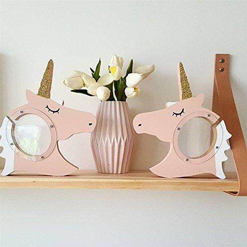 Neuheit Unicorn Geschenke Münze Bank, Bupin Spielzeug Spardose Sparschwein für Mädchen Holz Dekor (Golden)