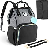 Elephantine Me - Baby Changing Bag Rucksack - Nappy Backpack with Stroller Straps & Travel Changing Mat - Black and Grey