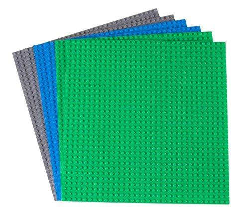 Strictly Briks Premium-Bauplatten - mit allen großen Marken kompatibel - 6 Stück - 10 x 10 (25,4 x 25,4 cm) - Grün, Blau und Grau
