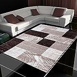 Tappeto moderno design patchwork a pelo corto soggiorno diversi colori e misure, Polipropilene, marrone, 160 x 230 cm