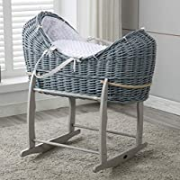 Mcc® Full set Grey Wicker Moses Pod Cocoon Wicker Basket With White Waffle Dressing 100% Cotton & Rocking Stand(Cocoon)