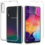 EasyAcc Hülle + Panzerglas für Samsung Galaxy A50, 9H Schutzfolie + Crystal Clear Case Transparent Handyhülle Cover Soft TPU Durchsichtige Schutzhülle Für Samsung Galaxy A50
