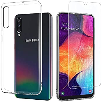 Leathlux Coque Samsung Galaxy A50 2019 Transparente + Verre trempé Protection écran, Souple