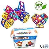 Maguplay Magnetische Bausteine Bausatz enthält 64 XXL Magnetbausteine in Clipbox Ideales Geschenk für Kinder ab 3 Jahren