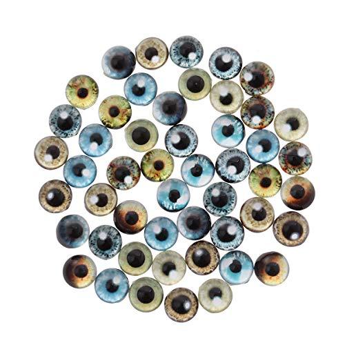 SUPVOX Glascabochons Augen Gedruckt Muster Kristall Glas Halbrund Kuppel 12mm 50 Stück (Mischfarbe)
