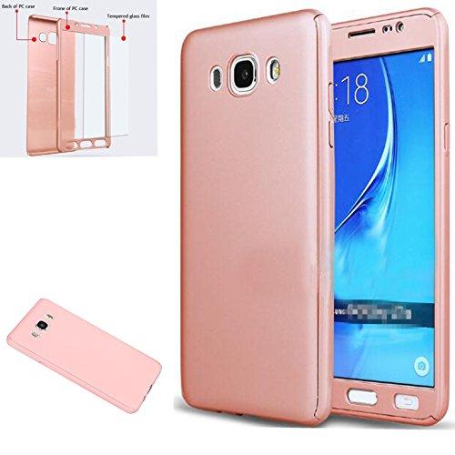 Funda Samsung Galaxy J7 2016 [ 360 °] Protectora + Vidrio Templado, LXHGrowH Funda Case Cover Carcasa para Samsung Galaxy J7 2016 Color Rosado