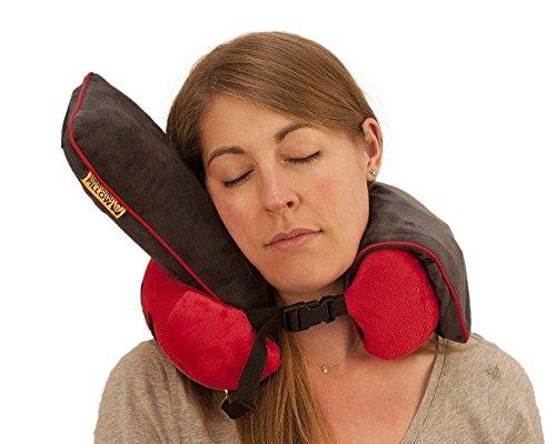 Il cuscino per il collo da viaggio con supporti laterali per testa, Roamwild cuscino, colore: rosso