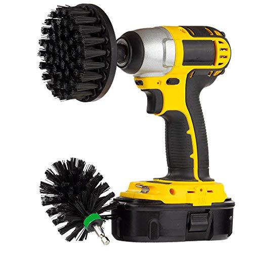 2Pcs 4 Inch 2.5 Inch Medium Heavy Duty Scrubbing Reinigung Power Scrubber Reinigung Drill Brush Kit für Badezimmer Oberflächen Wanne, Dusche, Fliesen und Fugen,Reifen usw (Schwarz)