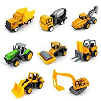 OUTANG Excavator Digger Vehicle Playset Toy Bulldozer Forklift Dump Trucks Early Educational Mini Tractor Toys for Children 8 Pack