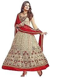Jay Varudi Creation Women's Beige Brasso Embroidered Semi-Stiched Anarkali Salwar Suit ( Designer Dress Materials 01 )