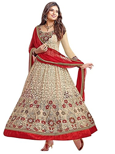 Jay Varudi Creation Women's Beige Brasso Embroidered Semi-Stiched Anarkali Salwar Suit ( Designer Dress Materials 01 )  available at amazon for Rs.429