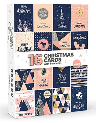 16 cartes de Noël et pour la nouvelle année par Joy Masters™ vol. 2- Avec enveloppes -Designs moderne - Lot important pour homme et femme