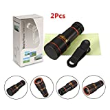 Smartphone Camera Lens,Hizek 12X Universal Optical Zoom Lens Manual Focus Telescope Camera Lens with Universal Clip for Iphone 6s/6/6 Plus/6s Plus / 5s , Samsung Galaxy S6 / S6 edge/S5, Note 5 /4 ,and More (12X) (2PCS)