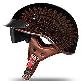 H_y Open Face Visier Crash Motorradhelm, Herren Drop Down Retro Style Sonnenbrille Lokomotive...