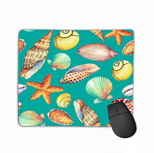 Mouse pad Seamless Pattern Underwater Life Objects Isolated Turquoise Background Marine Design Shell sea Star Watercolor Hand d steelseriesKeyboard