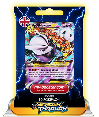 MEGA MEWTWO EX (Mewtu) 63/162 230HP XY08 BREAK THROUGH - Booster mit 10 Englische Karten Pokemon my-booster (Mega-pokemon Mewtu-karte)