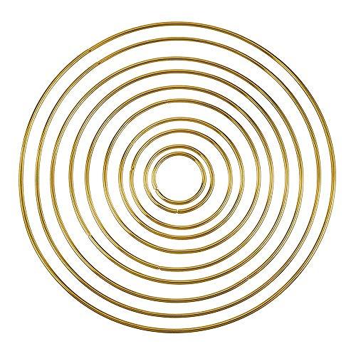 Yangmg 10 Stück Metallringe Creolen Metallreifen für Dream Catcher und Handwerk (Gold) Praktisch (Gold-flache Creolen)