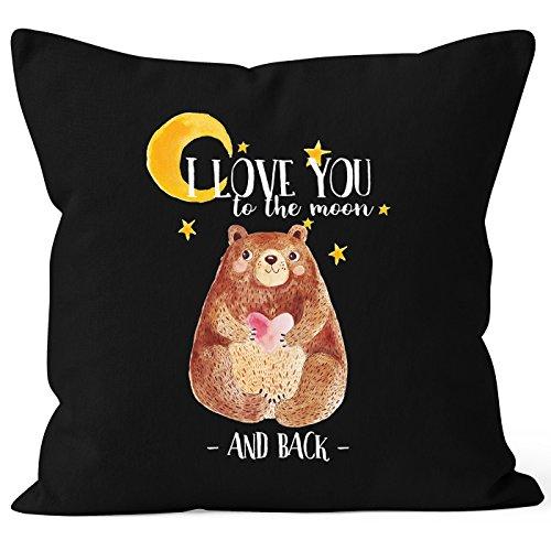 MoonWorks Kissenbezug Bär mit Herz Watercolor I Love You to The Moon and Back Geschenk-Kissen Liebe 40×40 Baumwolle