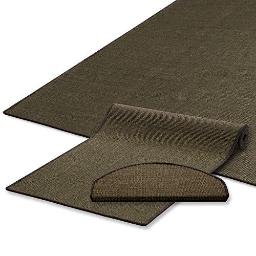 casa pura Sisal Teppich Läufer | Uni Tabak | Naturfaser | Qualitätsprodukt aus Deutschland | kombinierbar mit Stufenmatten | 19 Breiten und 18 Längen (80x250 cm)