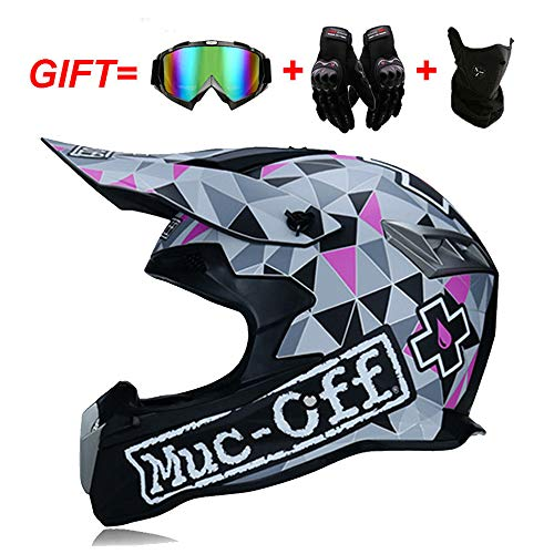 Motorcrosshelm, Enduro Full Face Helme Motocross Helm Set für Männer Damen Sicherheit Schutz mit Abnehmbar Futter mit Handschuhe Maske Brille D.O.T zertifizierter,Silver,S:54~55cm
