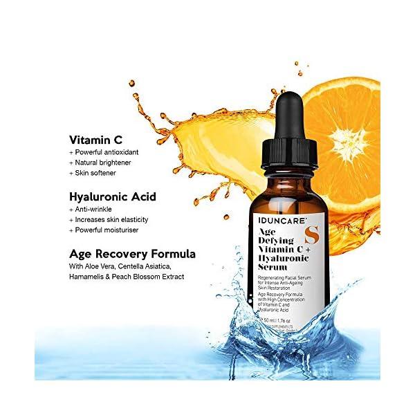 Iduncare Sérum Facial Vitamina C & Ácido Hialurónico – Sérum Antiedad con Efecto Antiarrugas, Hidratante e Iluminador…