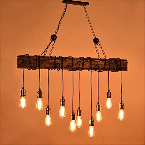 Preisvergleich Produktbild YRE Vintage Style verpackt Holzbalken an der antiken Einrichtung Kronleuchter - Ideal für Küche,  Bar,  Bauernhaus,  Industrielle,  Edison die Glühbirne Dekor Pendelleuchte