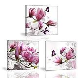 Piy Painting 3 Teilig Bilder Blumen Orchidee Wandbild Dekoration, Bilder auf Leinwand, Wandbild Kunstdruck Fertig zum Aufhängen und Kunstdrucke auf Leinwand Wanddeko für Küche Weihnachten Geschenk