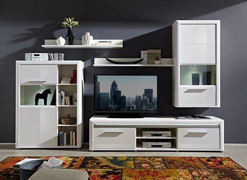 5-tlg. Wohnwand in Hochglanz weiß/Abs. aluminiumfarben, mit LED-Beleuchtung, 1 Vitrine, 2 Wandboards, 1 TV-Bank, 1 Hängevitrine, B/H ca. 322/201 cm - 2
