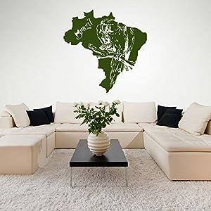 azutura Mapa de Brasil Parrot Bird Vinilos Disponible en 5 tamaños y 25 Colores Blanco