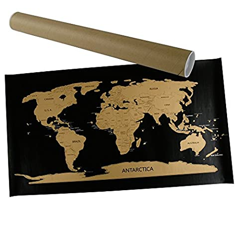 Rubbel Weltkarte Scratch World Map 45 x 80 cm schwarz gold Landkarte zum Rubbeln