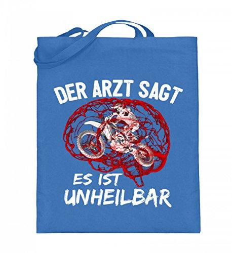 Hochwertiger Jutebeutel (mit langen Henkeln) - Motocross - Es ist unheilbar - Rot Blau