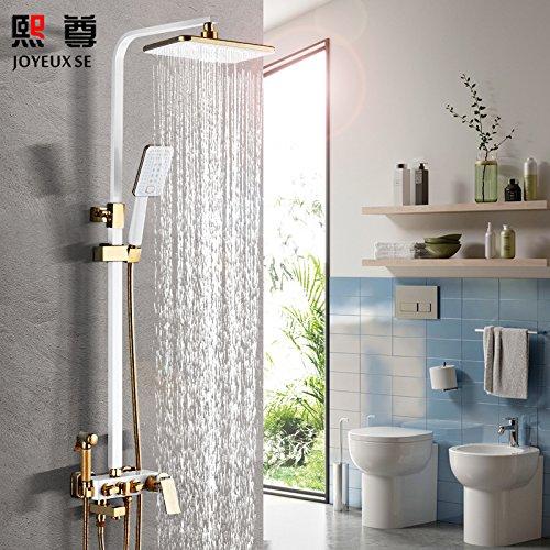 Hlluya rubinetto lavabo bagno cucina doccia nero kit doccia di rame pieno booster bagno vasca da bagno grande nero sprinkler riscaldata rubinetto di antiquariato, platino 4 - barra quadra manopola