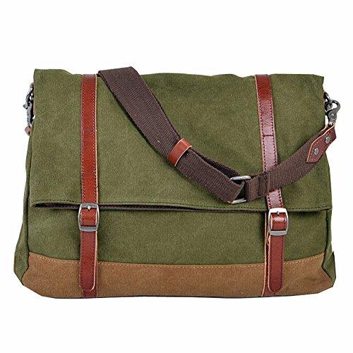 Paonies Männer Canvas Handtasche Schultertasche Messenger Bag Umhängetasche Reisetasche (Grün) Grün