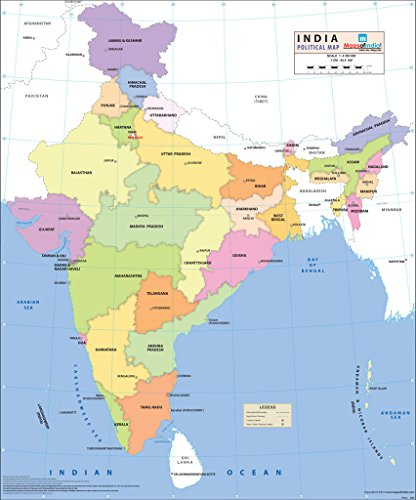 India Political Wall Map - Synthetic (70 x 83 cm)