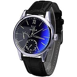 Koly Luxury Fashion Faux Leather Mens Blue Ray Glass Quartz Analog Watches Black