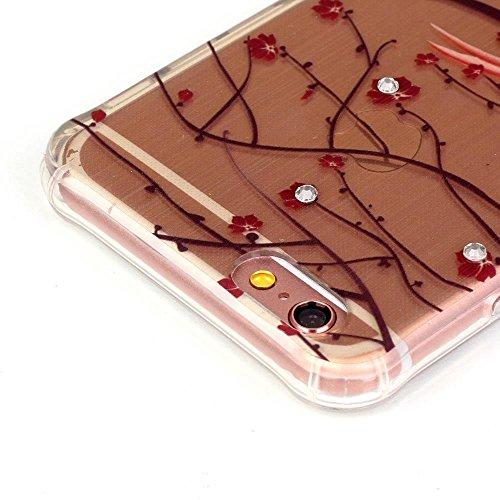 """MOONCASE iPhone 6S Plus Coque, Brushed Glitter Sparkle Bling Coloré Motif Étui Coque pour iPhone 6 Plus / 6S Plus 5.5"""" Soft TPU Gel Souple Case Housse de Protection High Heels Tree branches and Birds"""