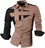 Jeansian Herren Freizeit Hemden Shirt Tops Mode Langarmshirts Slim Fit 8397 Khaki S [Apparel]