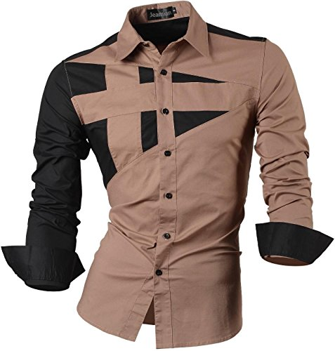 jeansian Herren Freizeit Hemden Shirt Tops Mode Langarmshirts Slim Fit 8397 Khaki M [Clothes]