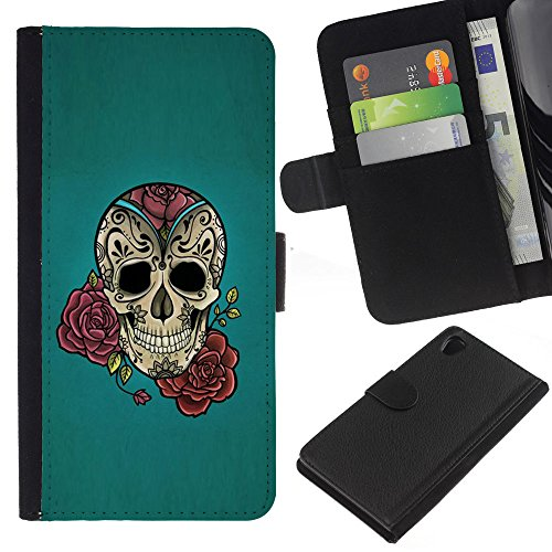 zcell-sony-xperia-z2-d6502-rose-ink-tattoo-blue-rock-roll-metal-wallet-cuir-pu-coverture-shell-armur