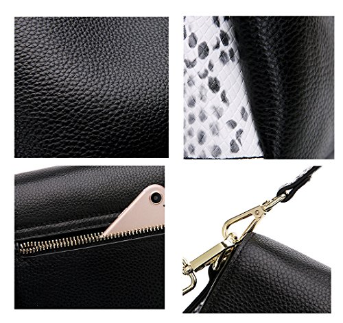 SAIERLONG Nuovo Donna Nero Primo Strato Di Cuoio Borse Crossbody Sacchetti di spalla Nero