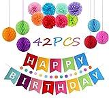 recyco Arcobaleno Decorazione Festa di Compleanno, Striscione Happy Birthday, con 8 Fiori Colorati, 6 Sfere a Nido d'Ape e Festoni Arcobaleno
