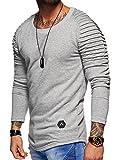 Behype Herren Oversize Sweatshirt Rundhals Biker Pullover 40-1132 Hellgrau XL