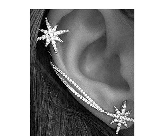Orecchini di asimmetrica stella ear cuff cristallo zirconi polsino di