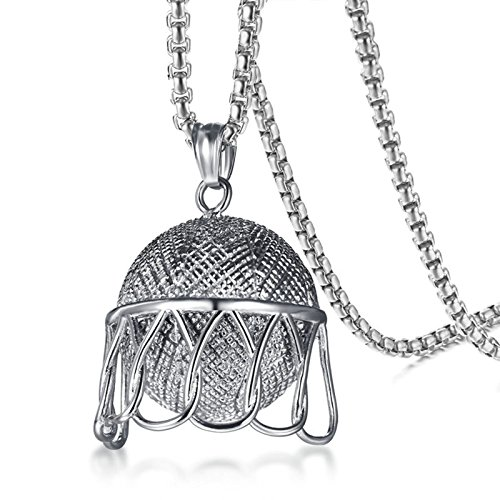 SonMo Herren Titan Halskette Basketball Box Kettenanhänger mit Gravur Herren Silber 60CM