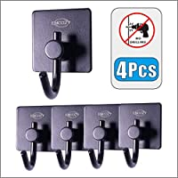 Bathroom Hooks Holder,Self Adhesive Stainless Steel Hooks,Waterproof Kitchen Shower Oranizer for Towel,Bathrobe