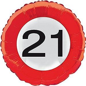 Globo de la hoja número señal de tráfico 21 cumpleaños del fiesta del globo de helio